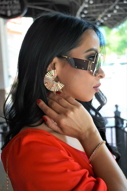 Rhinestone Fan earrings