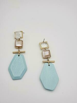 Stone n Wooden Drop Earring