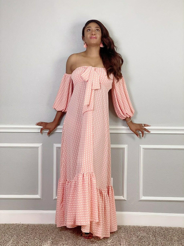 Peach Poka Maxi Dress