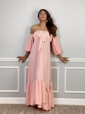 Peach Poka Maxi Dress