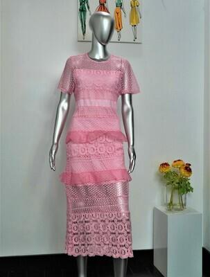 Pink Eyelet Lace Dress