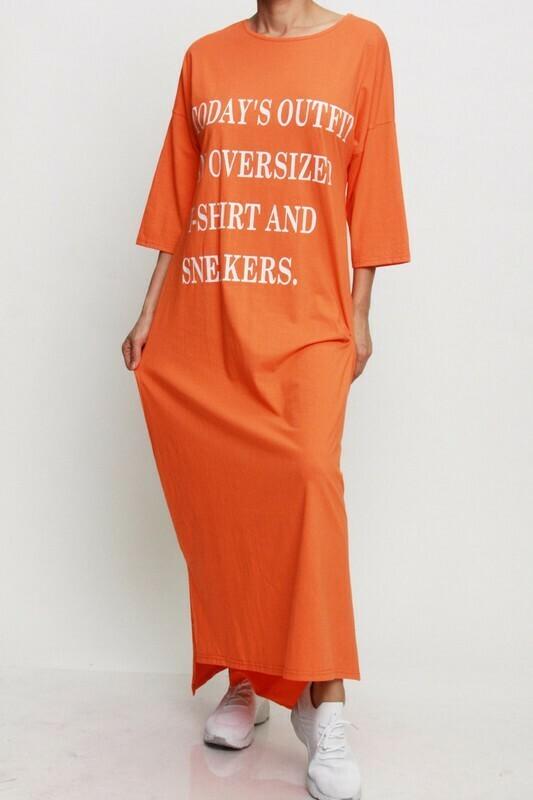 Oversized Orange T-shirt Dress