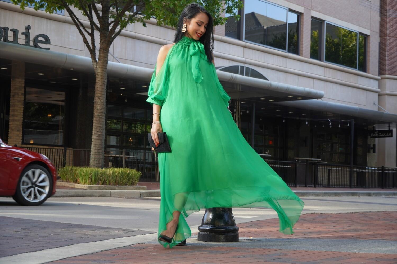 Asymmetrical Green Dress
