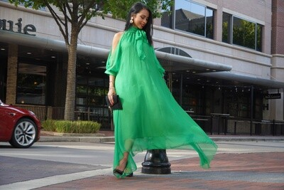 Asymmetrical Green Dress