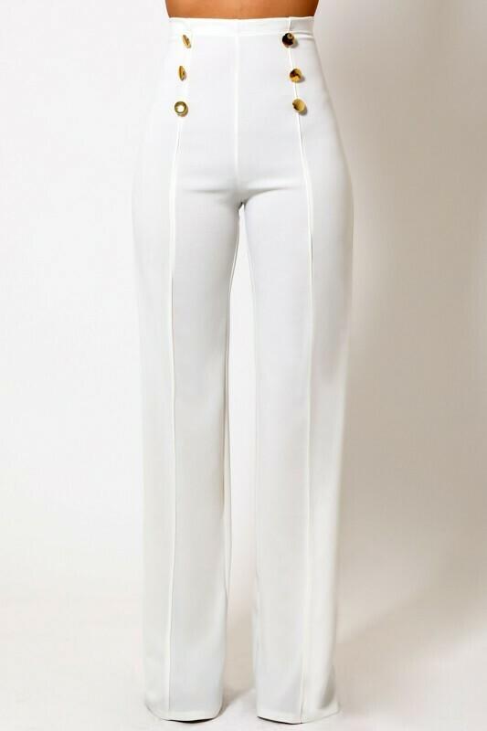 Valentine White Pants w/waist button