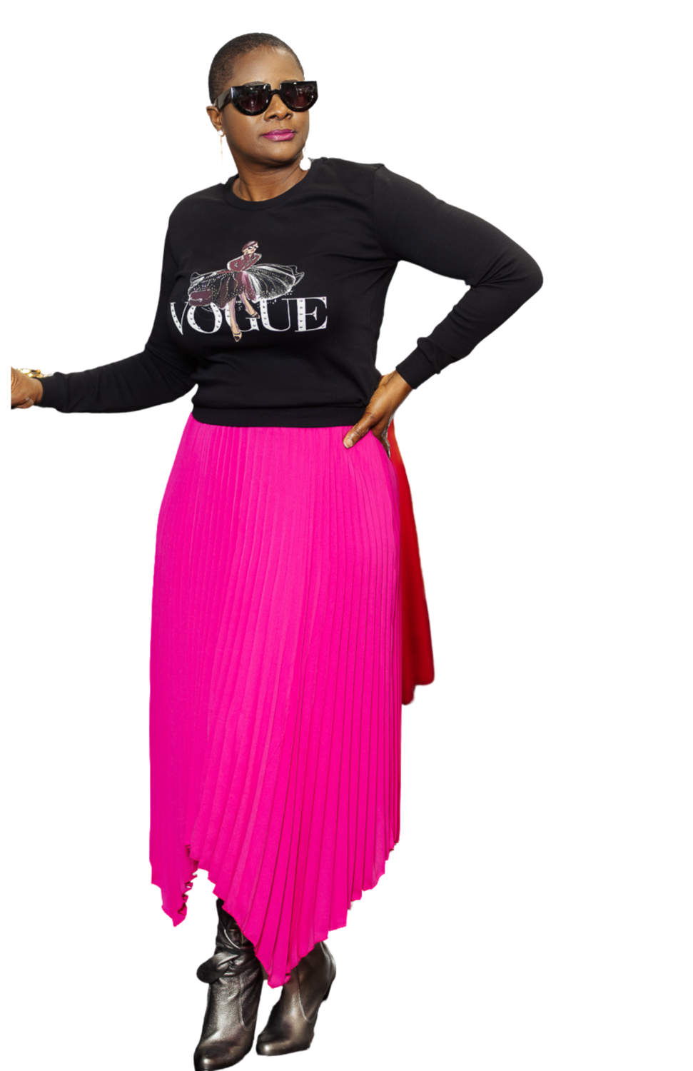 Fuschia Pleated Skirt