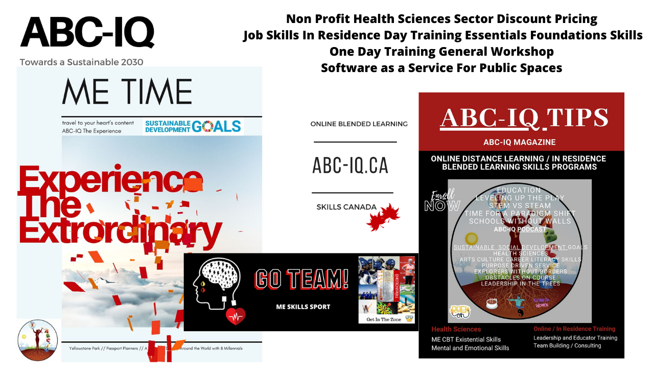 ME Time ABC-IQ Tips Public Spaces  SAAS Corporate / Job Skills Mental and Emotional Health