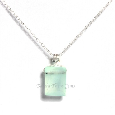 Chalcedony, Sterling Silver, Emerald Facet