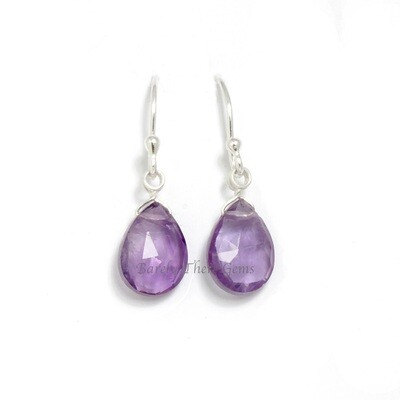Amethyst, Sterling Silver, Drop Earrings