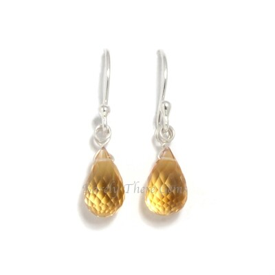 Citrine, Sterling Silver, Drop Earrings