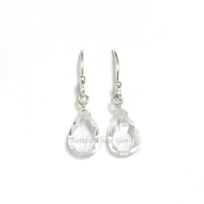 Clear Quartz, Sterling Silver, Drop Earrings