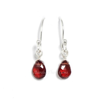 Garnet, Sterling Silver, Drop Earrings
