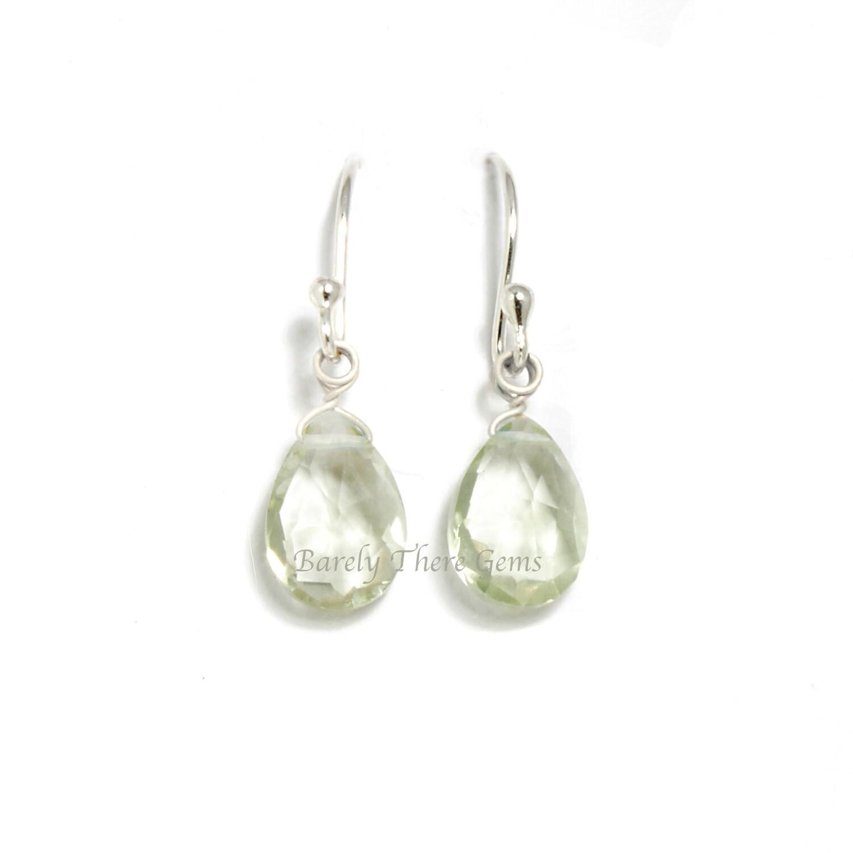 Green Amethyst, Sterling Silver, Drop Earrings