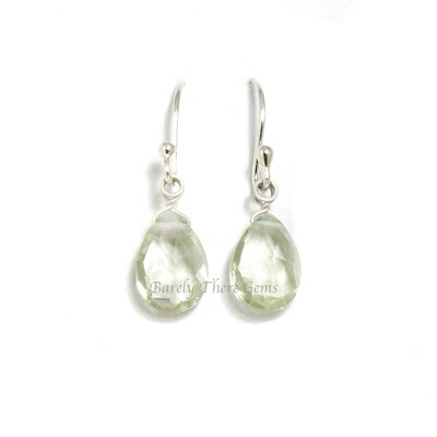Green Amethyst, Sterling Silver, Drop Earrings