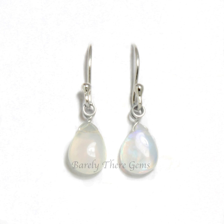 Moonstone, Sterling Silver, Drop Earrings