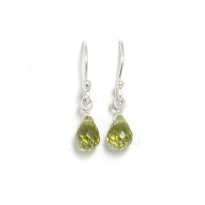 Peridot, Sterling Silver, Drop Earrings