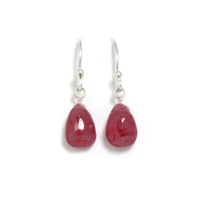 Ruby, Sterling Silver, Drop Earrings