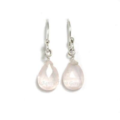 Rose Quartz, Sterling Silver, Drop Earrings