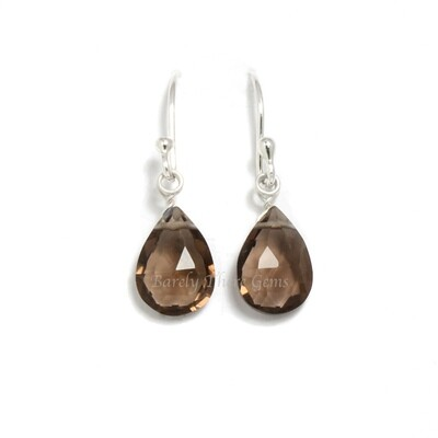 Smoky Quartz, Sterling Silver, Drop Earrings