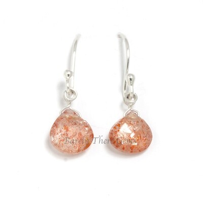 Sunstone, Sterling Silver, Drop Earrings