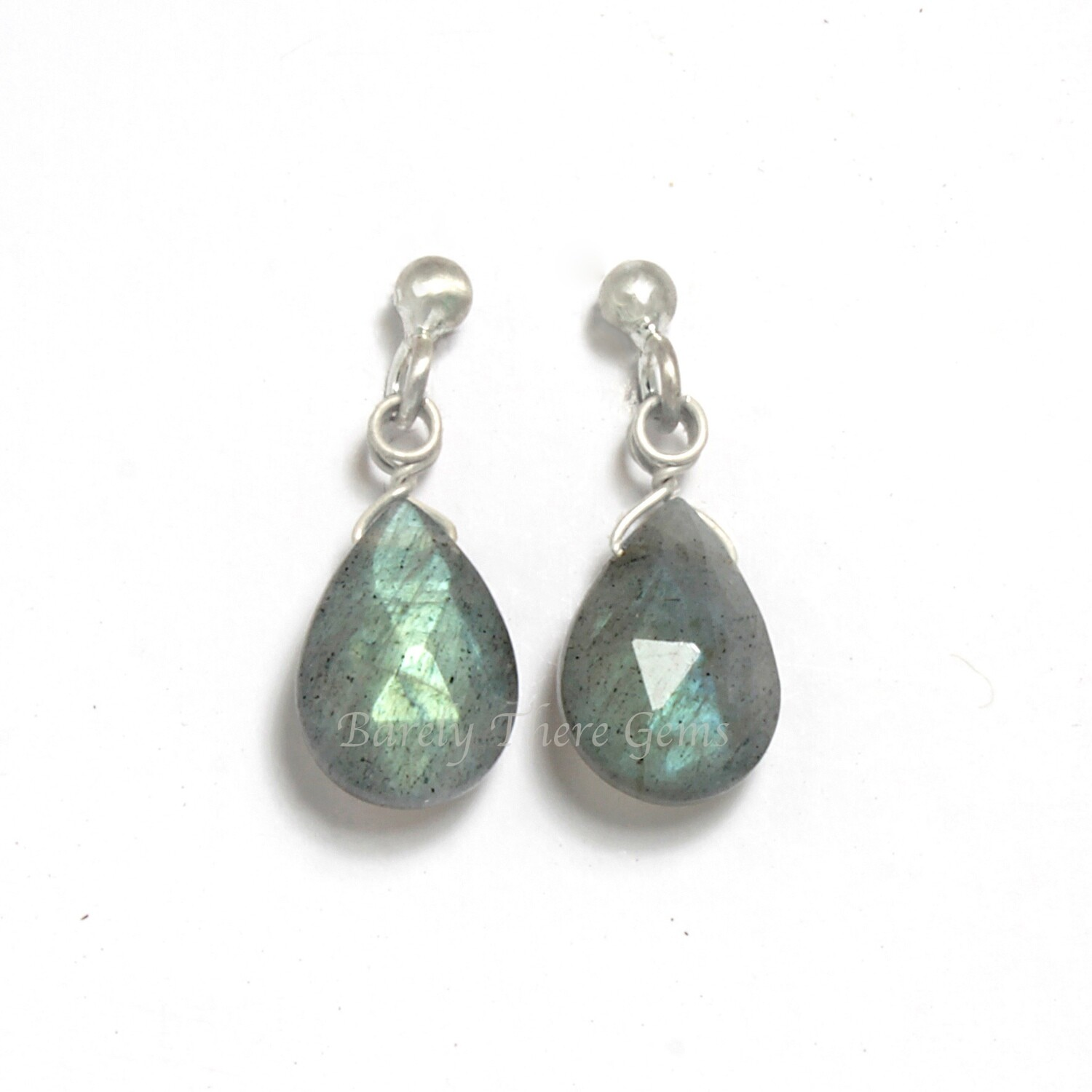 Labradorite, Sterling Silver, Stud Earrings