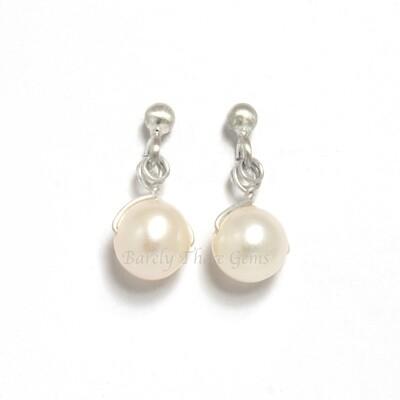 Pearl, Sterling Silver, Stud Earrings