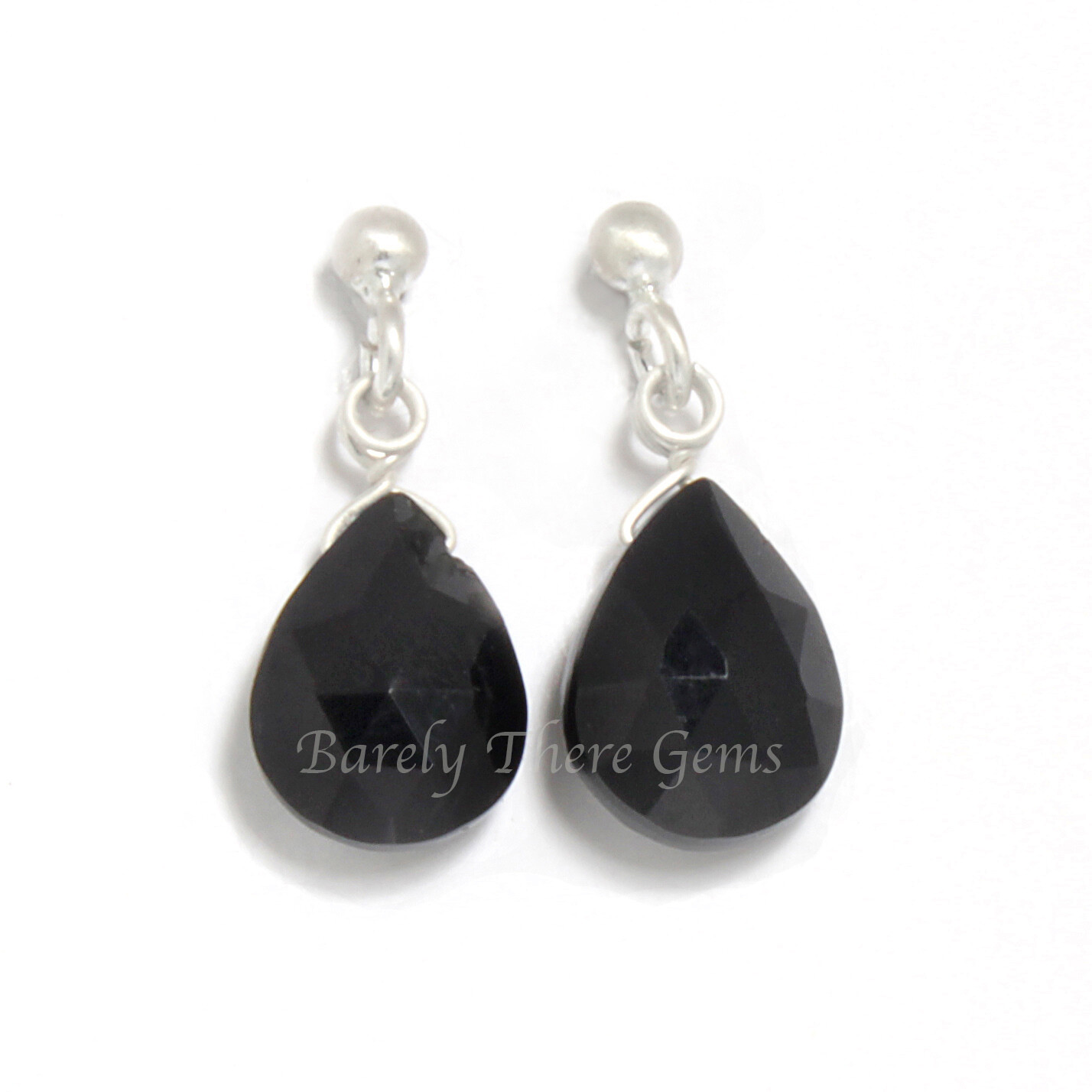 Black Onyx, Sterling Silver, Stud Earrings