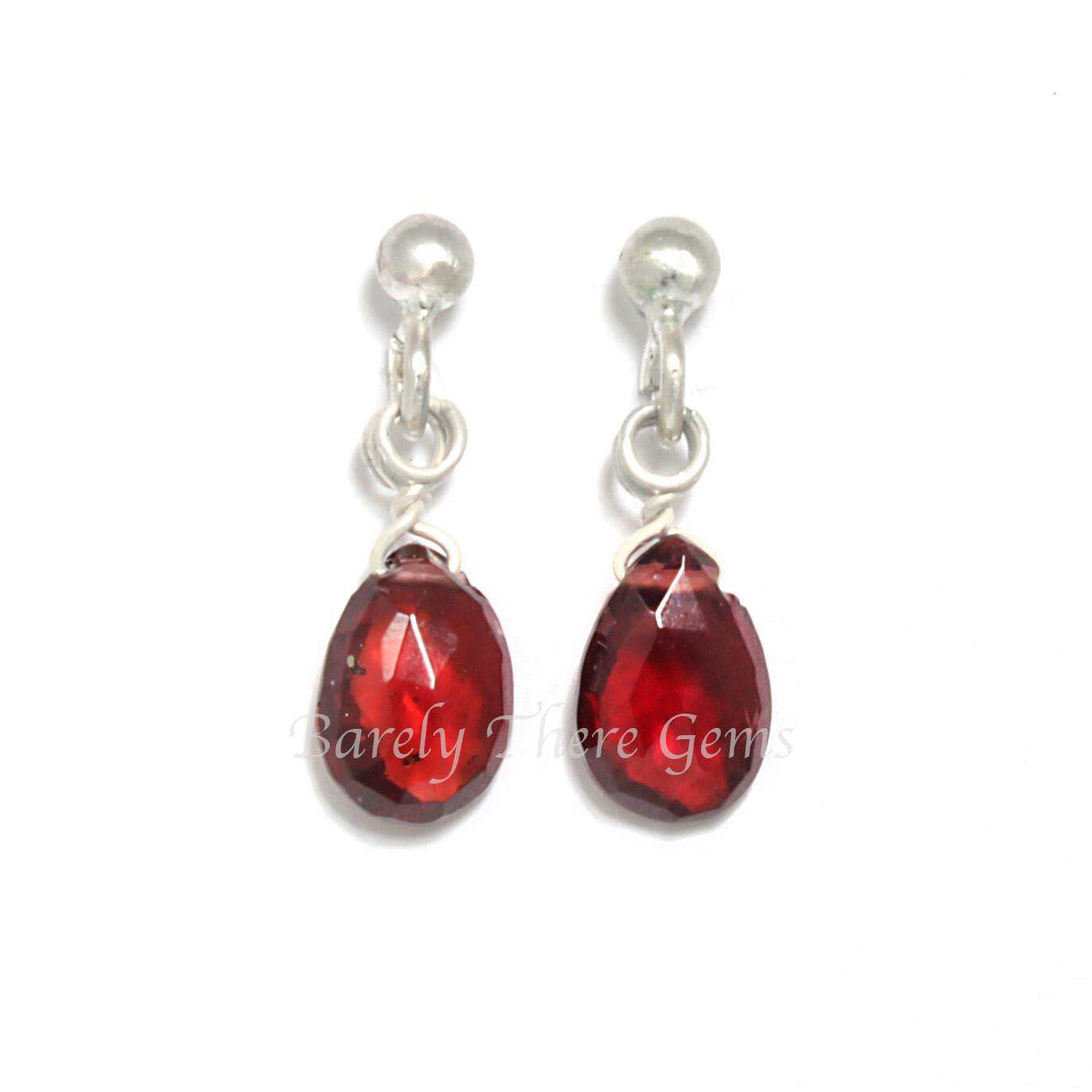 Garnet, Sterling Silver, Stud Earrings