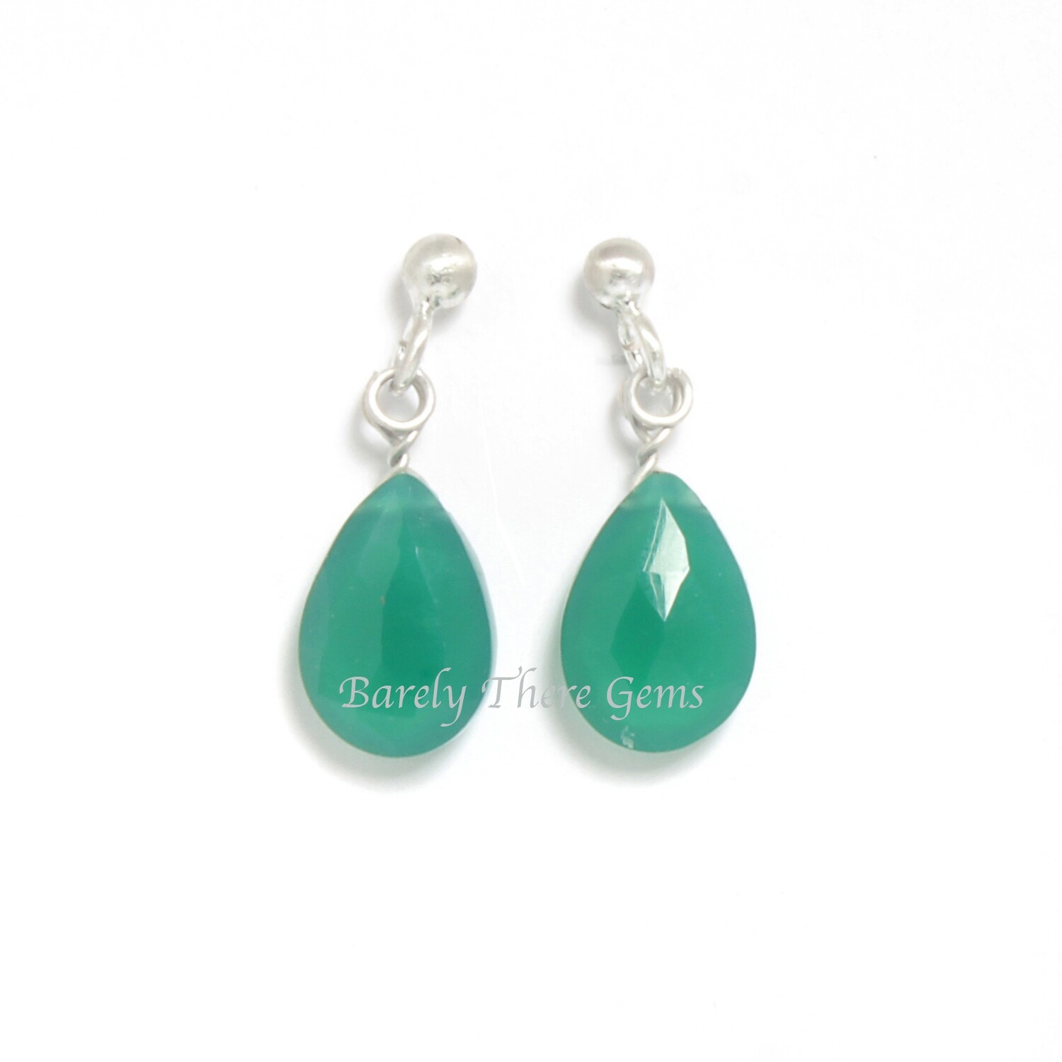 Green Onyx, Sterling Silver, Stud Earrings