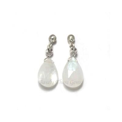 Moonstone, Sterling Silver, Stud Earrings