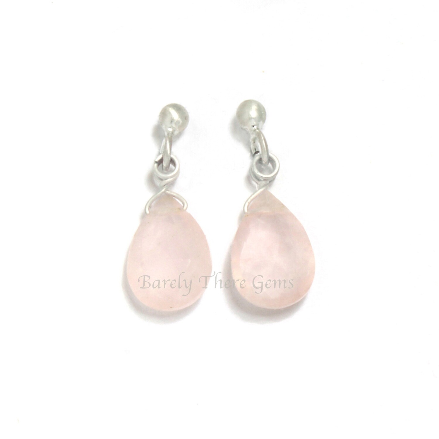 Rose Quartz, Sterling Silver, Stud Earrings