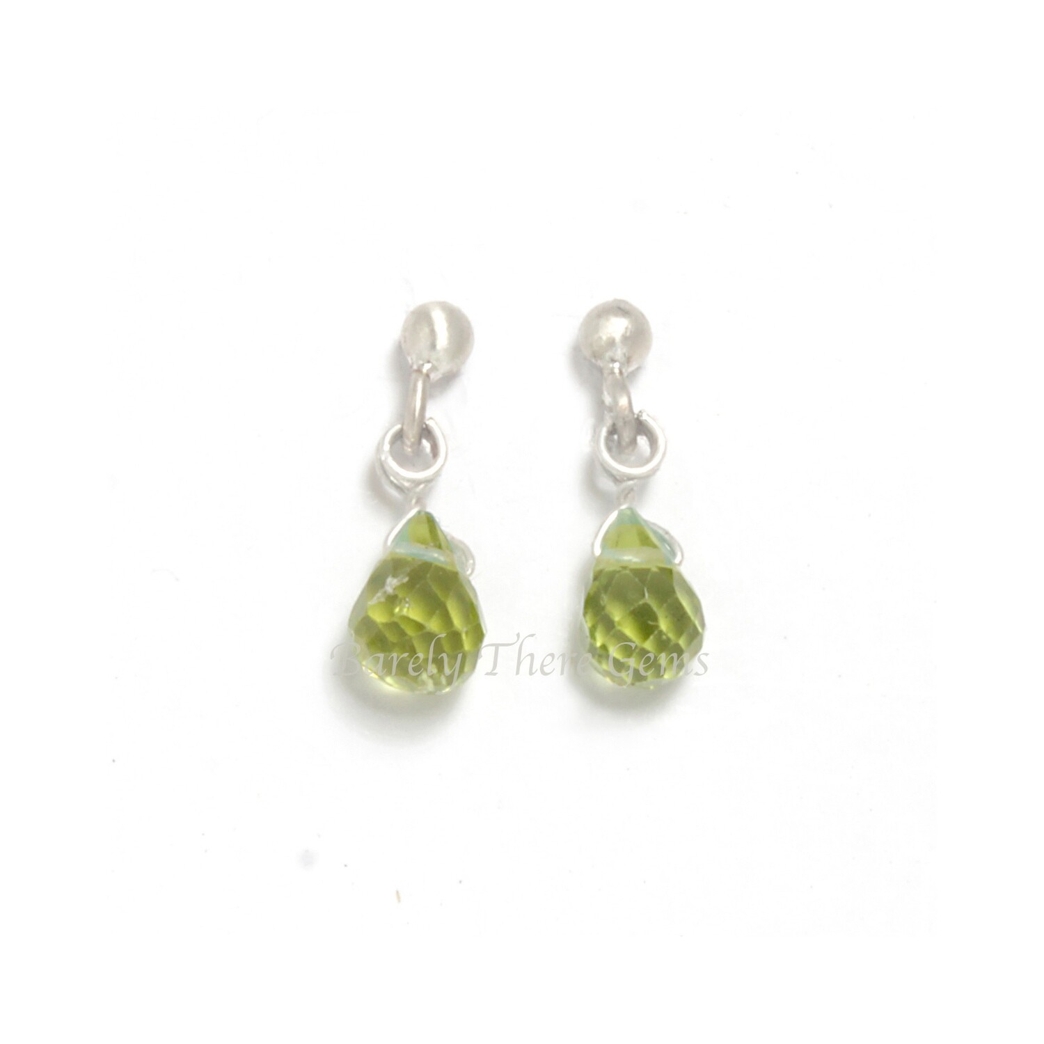 Peridot, Sterling Silver, Stud Earrings