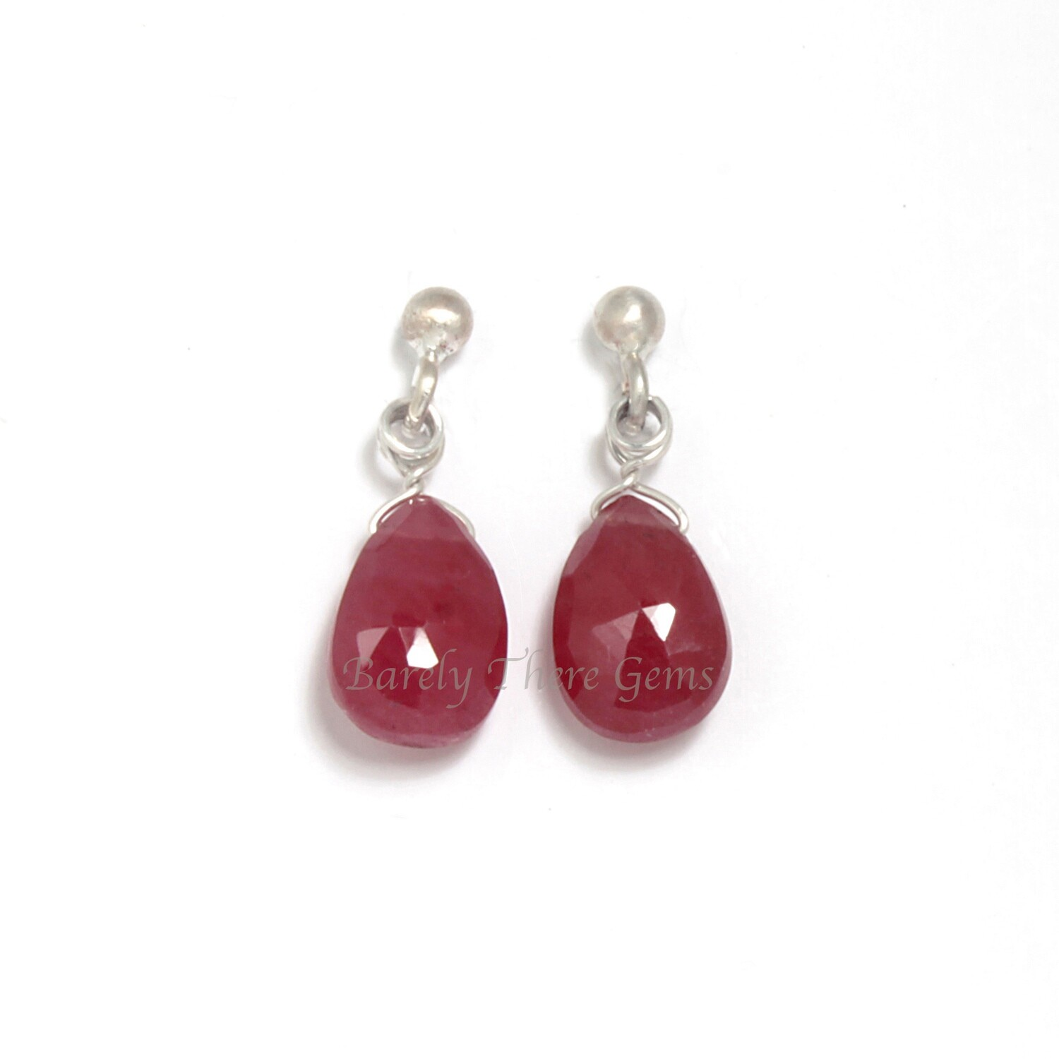 Ruby, Sterling Silver, Stud Earrings