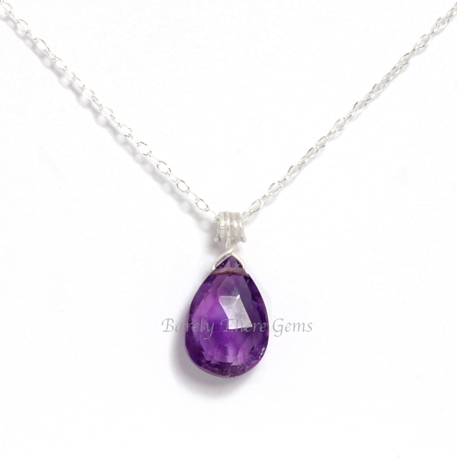 Amethyst, Sterling Silver, Necklace
