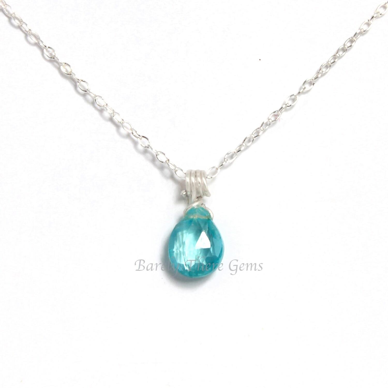 Sea Green Apatite, Sterling Silver, Necklace