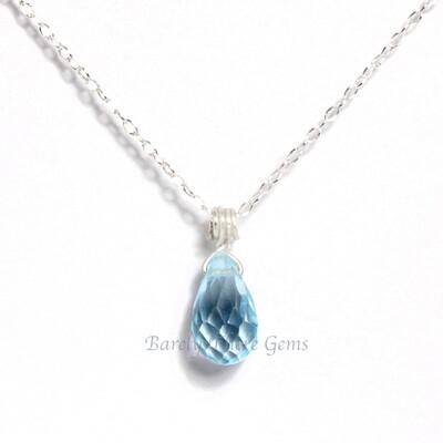 Blue Topaz, Sterling Silver, Necklace