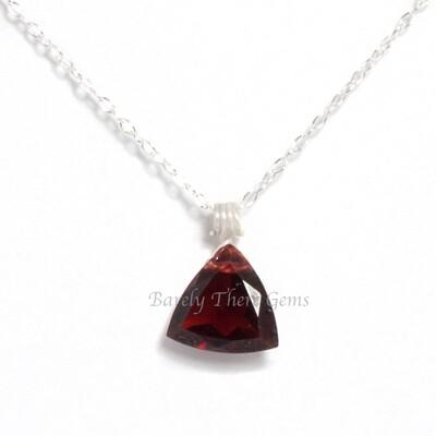Garnet, Sterling Silver, Trillion Facet Necklace