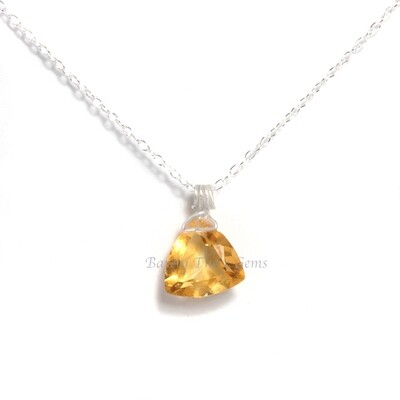 Citrine, Sterling Silver, Trillion Facet Necklace