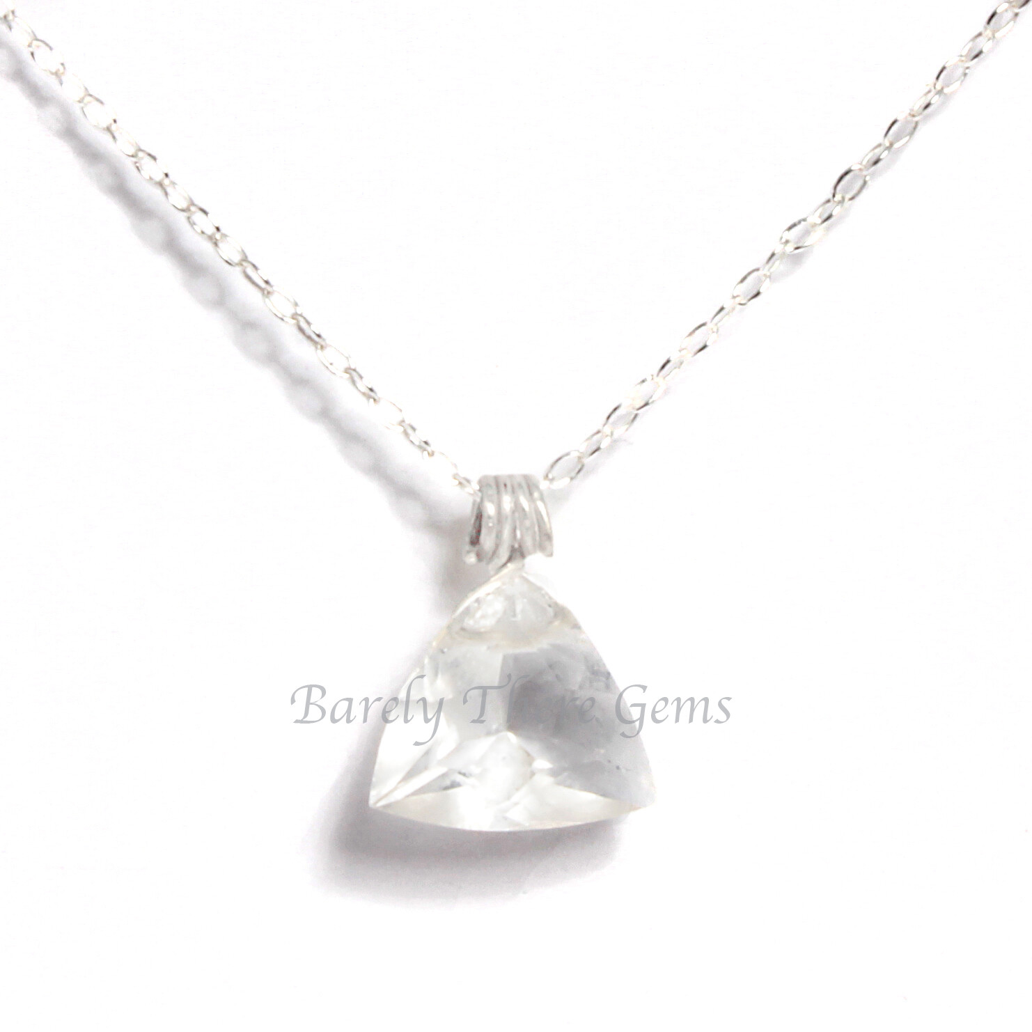 Clear Quartz, Sterling Silver, Trillion Facet Necklace