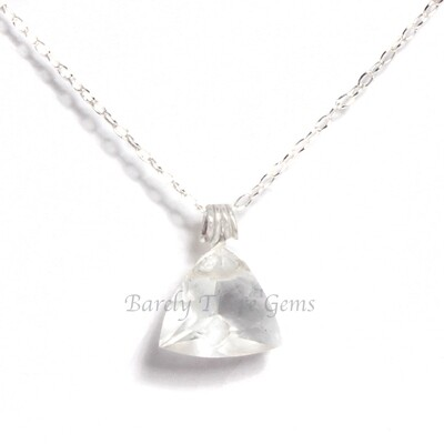Clear Quartz, Sterling Silver, Trillion Facet Necklace