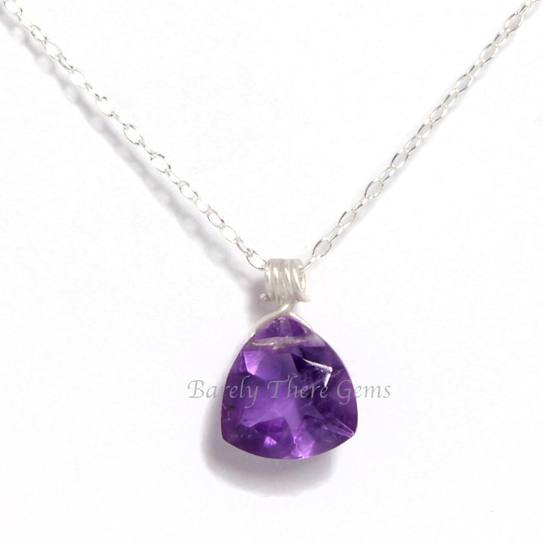 Amethyst, Sterling Silver, Trillion Facet Necklace
