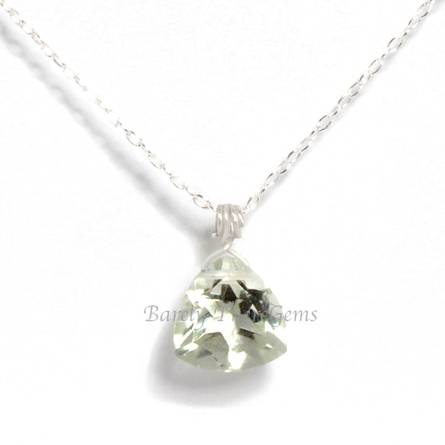 Green Amethyst, Sterling Silver, Trillion Facet Necklace