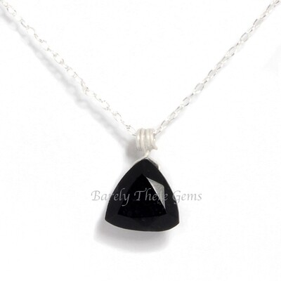 Black Onyx, Sterling Silver, Trillion Facet Necklace