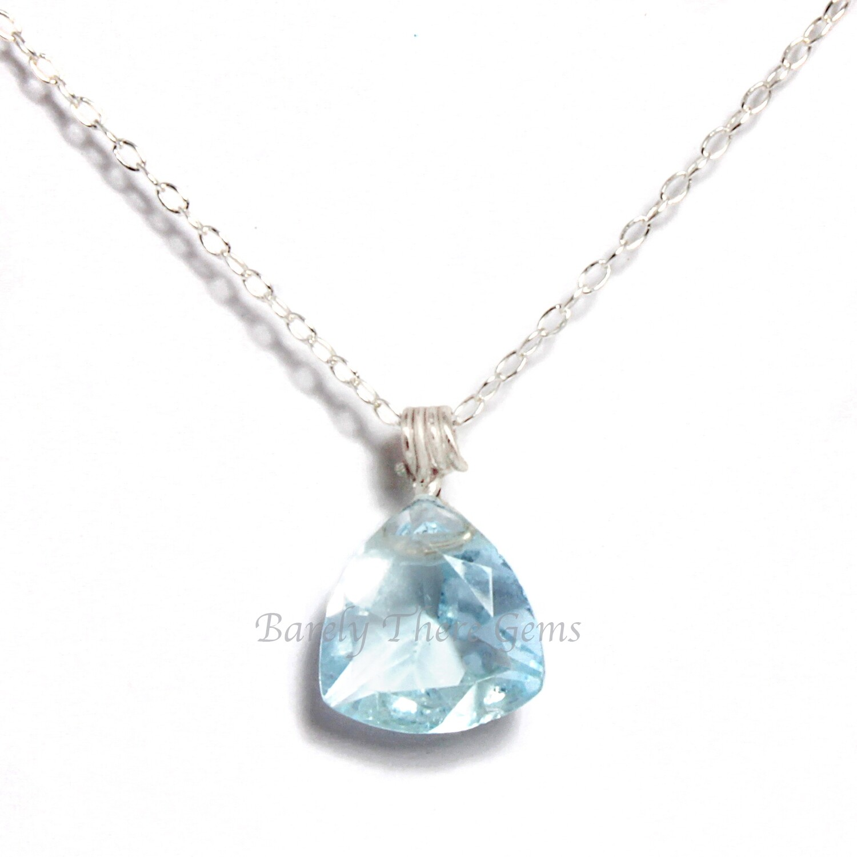 Blue Topaz, Sterling Silver, Trillion Facet Necklace