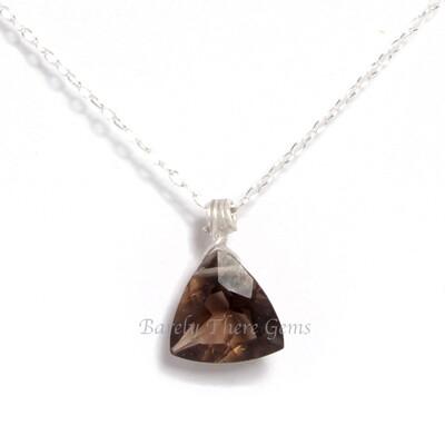 Smokey Quartz, Sterling Silver, Trillion Facet Necklace
