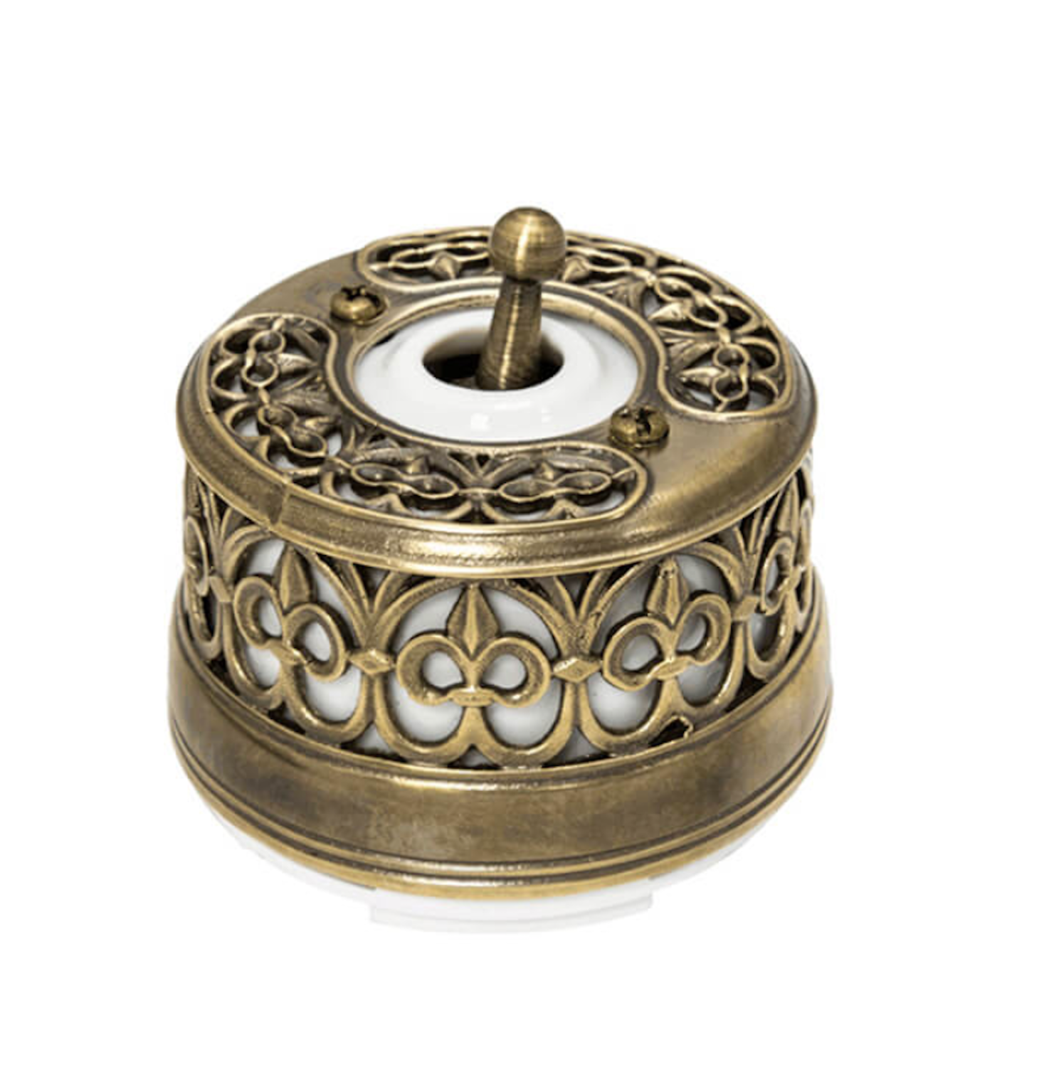 Toggle wall lighting switch in aged bronze & porcelain