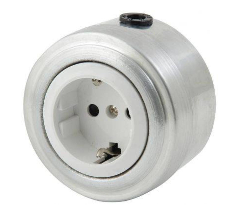 Aluminium socket, white insert