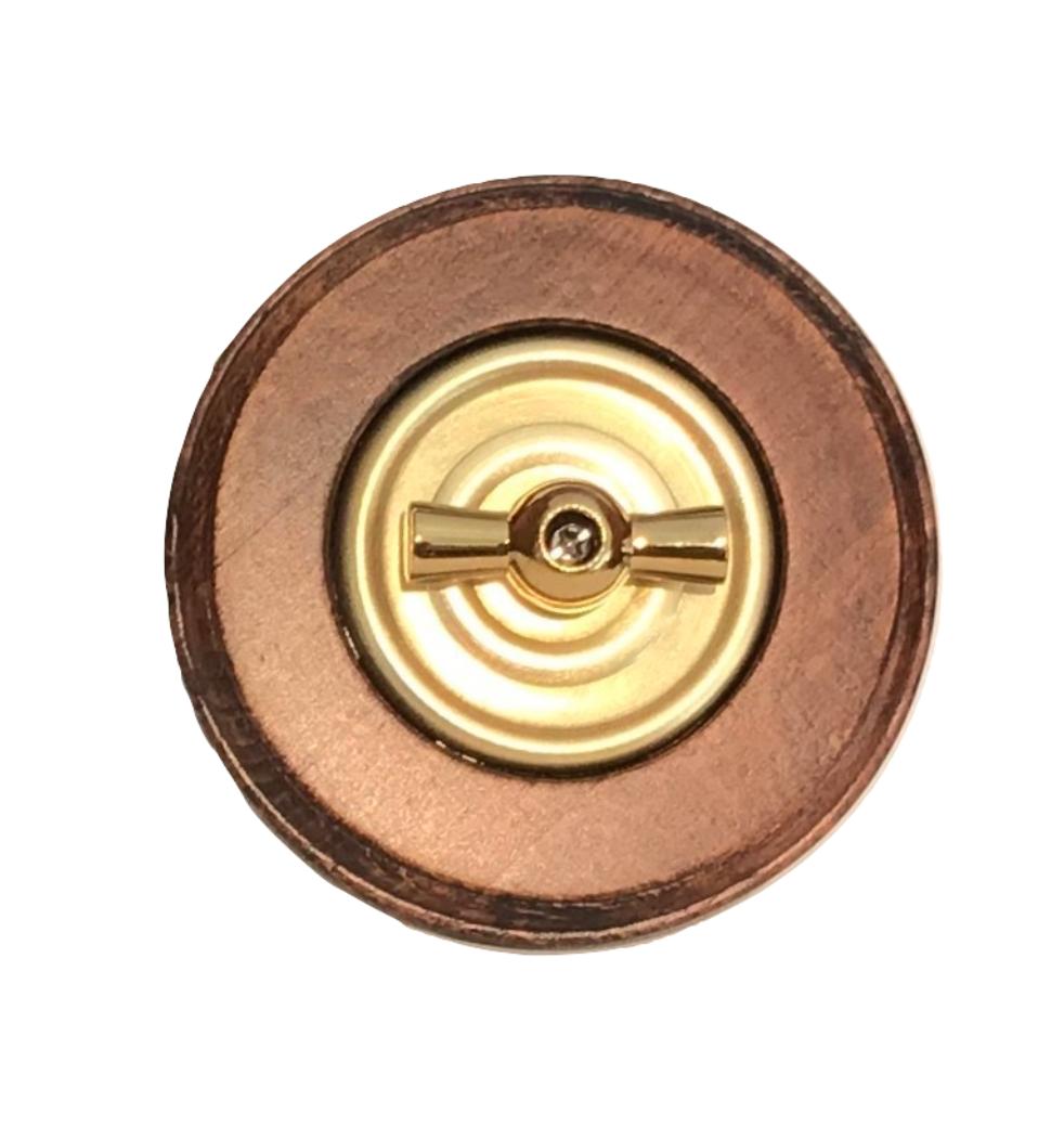 Golden brass rotary switch & wooden frame
