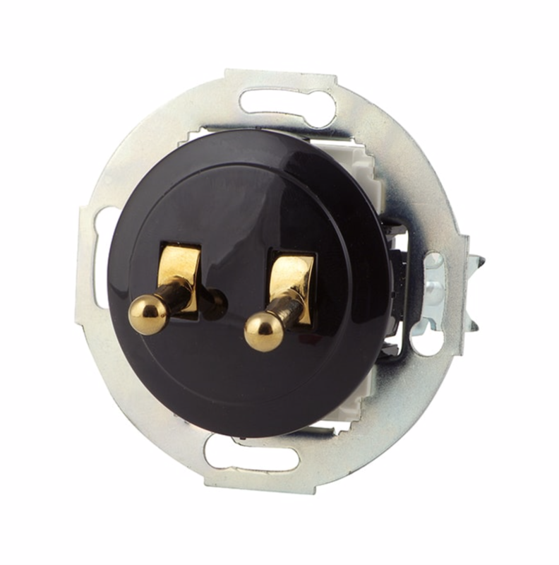Black double toggle switch, bronze lever