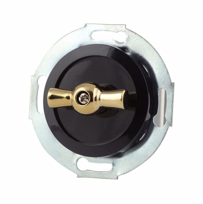 Black rotary switch, bronze handle